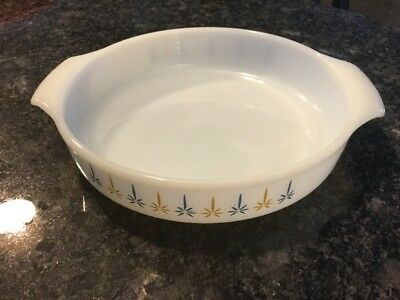 """Vintage Anchor Hocking Fire King Candle Glow 9"""" Round Casserole"""