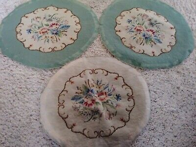 3 Lovely Antique Needle Point Chair Seat Upholstery COVER Green & White w/Flower