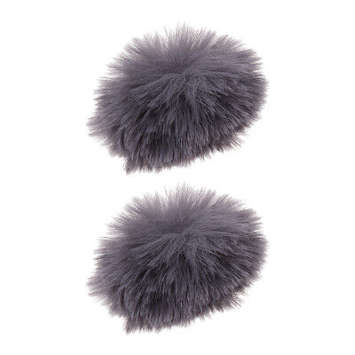 Set 2 Gray Microphone Fur Windscreen Cover Windshield Muff for Lapel Mic