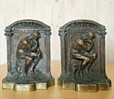 Pair of Vintage Solid Bronze Thinker Book Ends