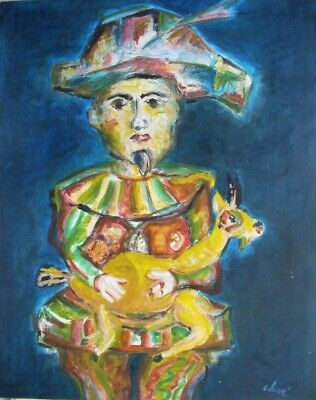 Antoni Clavé - Arlequin With A Goat - Oil/Paper - Signed - Vgc - Spanish Painter
