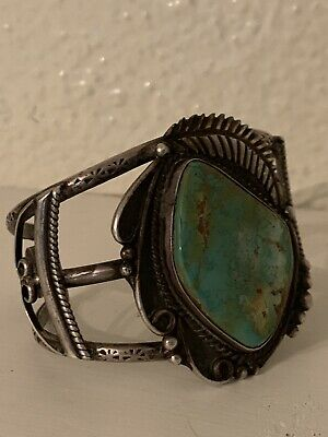 vintage native american indian turquoise jewelry Bracelet Signed Silver