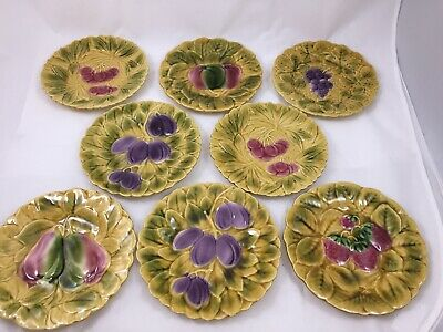 8 Sarreguemines Majolica Faience Salad Fruit Plates France French Country 7.5""