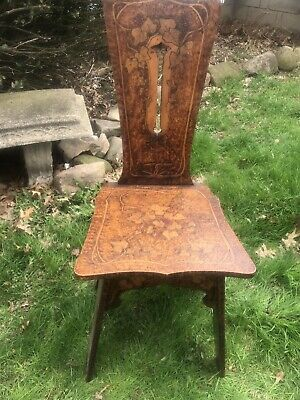 Beautiful Antique Pyrography Hand Carved Arts & Crafts Chair Dated 1912