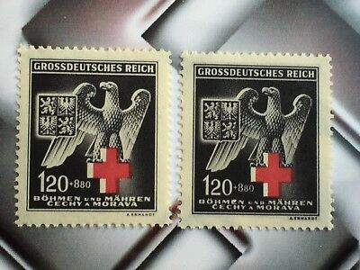 Germany WWII WW2 RARE NAZI STAMPS Military Black Eagle RED CROSS TYPE I + II MNH