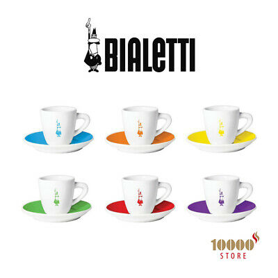 Set 6x Cups Coffee Cup & Saucer Bialetti Institutional Coloured Coffee Cups