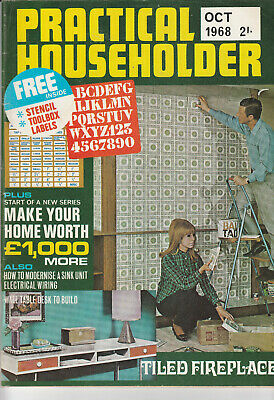 PRACTICAL HOUSEHOLDER Magazine October 1968 - Tiled Fireplace