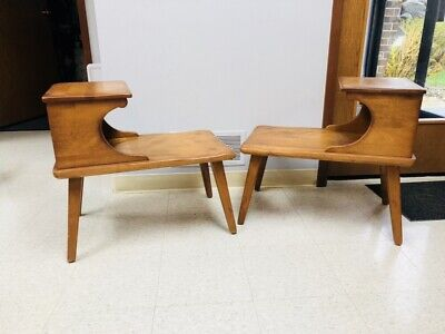 1950's MCM Cushman Colonial Creations End Tables Mid Century Wood High Quality
