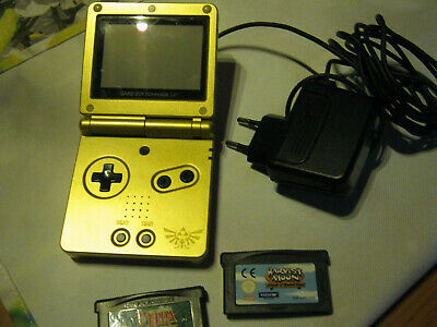Nintendo Game Boy Advance SP gold, Ladekabel und 2 Spiele ZELDA + HARVEST MOON