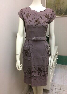 Original Vintage 40s 50s Dress ,Emboldened Detail , Wiggle Pencil , Pinup Swing