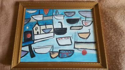 "Stunning Cornish School Abstract Study Titled ""Boats Penzance"""