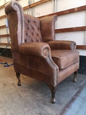 Chesterfield Queen Anne Wing High Back Fireside Chair Antique brown Leather