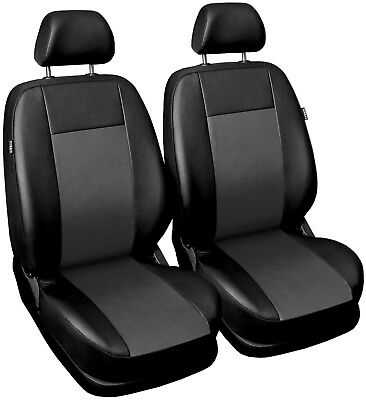 Front Leatherette seat covers fit Skoda Fabia 1+1 black/grey