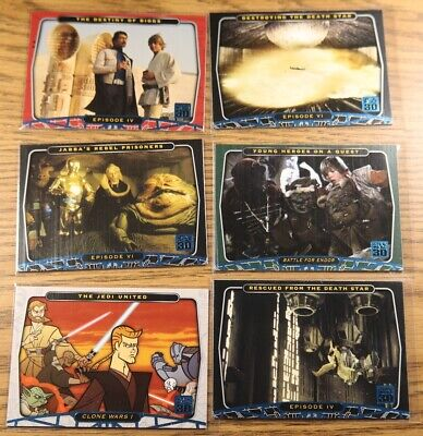 STAR WARS Topps 2007 30th Anniversary Blue Foil Parallel card Lot of 6