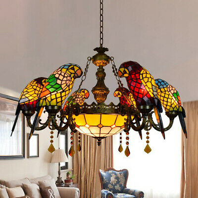 Vintage Tiffany Stained Glass 6 Arms Parrot Chandelier LED Ceiling Pendant Light