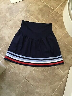 Jo Jo Madman Bebe Size 14 Navy Striped Hem Maternity Skirt Nwt £32