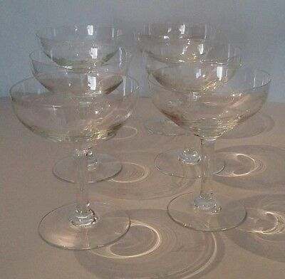 Lot of Six Champagne Glass or Demi-Cristal Engraved Early 20th