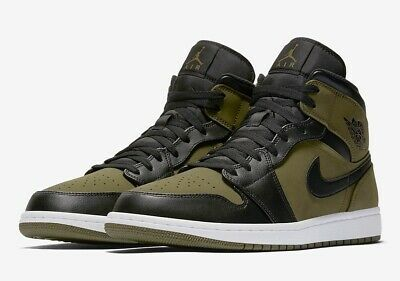 low priced 5b237 d58bd Nike Air Jordan 1 Retro Mid OLIVE GREEN CANVAS BLACK 554724-301 sz 10 Men s