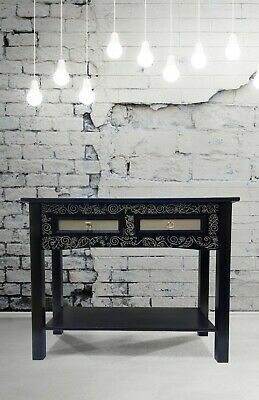 Beautifully Upcycled Hand Painted Navy Blue & Silver Solid Wood Console Table