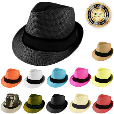 Gelante Mens Womens Summer Sun Trilby Fedora Panama Straw Hats Cap With Band