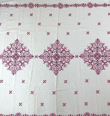 "Vtg Handmade Large White Pink Embroidered Linen Tablecloth 63.5"" X 51"""
