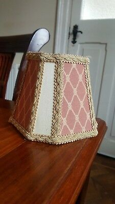 Victorian Vintage Retro Shabby Chic clip on light lampshade gold peach braided
