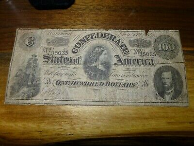 1864 $100 One Hundred Dollar Confederate States of America Bank Note