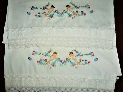 Pair of Vintage Embroidered Love Birds WIDE LACE TRIM Pillowcases Colorful