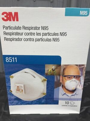 3M 8511 N95 Particulate Respirator With Valve 10/pkg