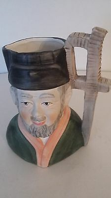 Funny Mug Biscuit-Topped D'Homme-Barbotine-Antique French Majolica Lidded