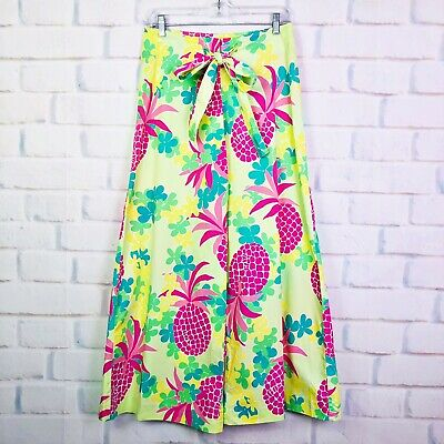Vintage Lilly Pulitzer Pineapple Print Wide Leg Pants Womens Size 2