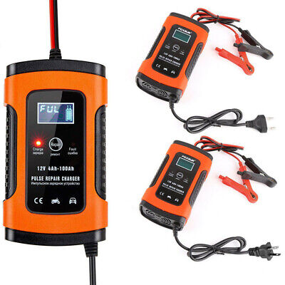 12V Smart Pulse Repair Charger LCD Display Battery Charger for Car Automobile