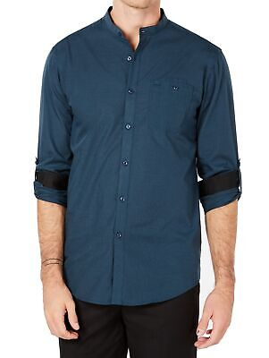 INC NEW Peacock Blue Mens Size 2XL Roll Tab Banded Collar Utility Shirt $49 201