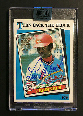 Lou Brock signed 2018 Archives Signature Series 1989 Topps card #662 Auto /61