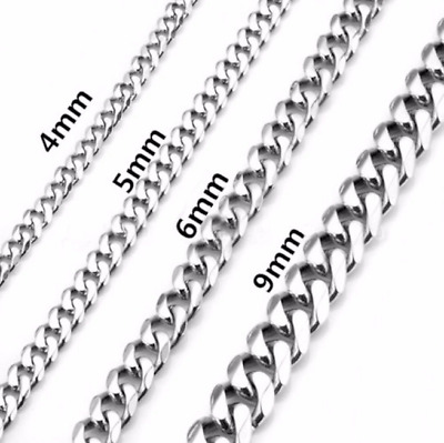 "18-26"" MEN 316L Stainless Steel 2-9mm Silver Classic Cuban Curb Chain Necklace"