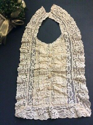 19thC Antique Hand Embroidered Alencon Needle Lace Collar Dress Front Yoke Ecru