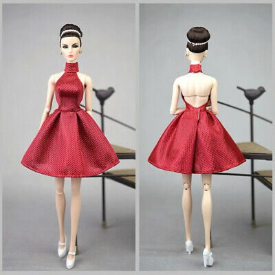 Fashion Pink Party Dress For 1/6 Dolls One Piece Dress Clothes For 11.5in Doll