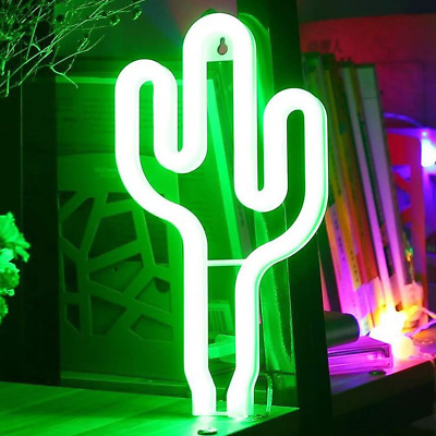 Cactus Neon Light Sign - XIYUNTE LED Cactus Lights Wall Lamp Room Decor, Battery
