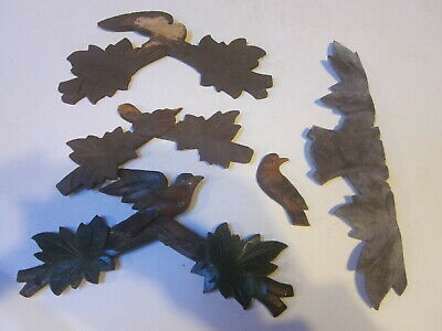 Vintage Black Forest Cuckoo Clock Flat Case Toppers For Parts Only As Shown