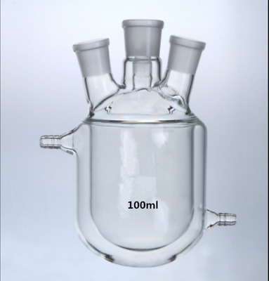 4-Necks Glass Jacketed Flask Reactor Vessel Double Layer 24/29 *4