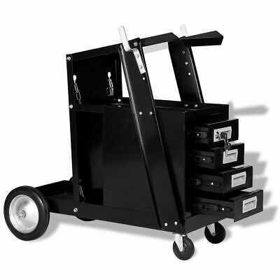 vidaXL Welding Cart w/ 4 Drawers Black Welding Trolleys Storage Garden Holder✓