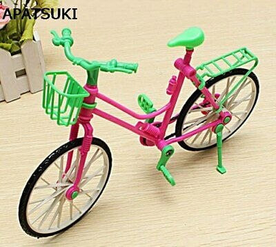 1:6 Toy Dollhouse Plastic Bike Bicycle With Basket For 11.5in Dolls Girl's Gift