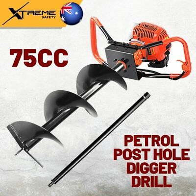 New 75CC Giantz Borer Fence Extension Auger Bits Petrol Post Hole Digger Drill