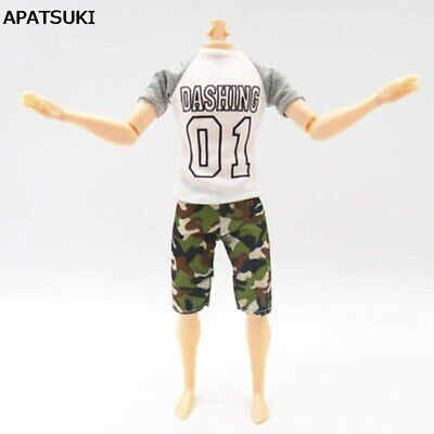 Fashion White 01 Shirt & Shorts For Ken Doll Pants Clothes For 1/6 Male Doll Toy