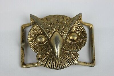 Owl Head Shaped Bronze Color Belt Buckle Vintage Metal Unusual Hard to Find