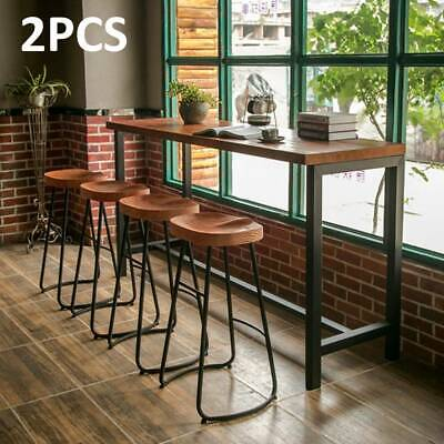 Set of 2 Industrial Bar Stools & Kitchen Breakfast High Chair Wood Pub Seat UK