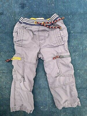 Boys Mini Boden Gray cargo pants blue Striped lined Sz 3