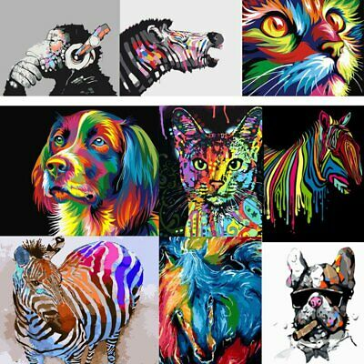 Colorful Animals Paint By Number Kit DIY Acrylic Oil Painting Canvas Home Decor
