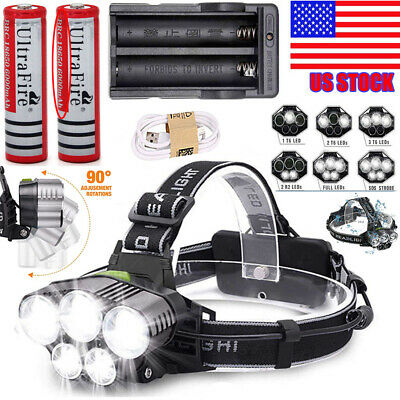 250000LM 5X T6 LED Headlamp Rechargeable Head Light Flashlight Torch Lamp USA!