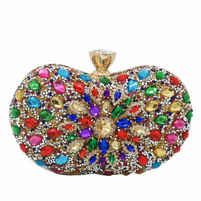 Multicolored Women Diamond Clutch Evening Handbags Wedding Party Crystal Bags